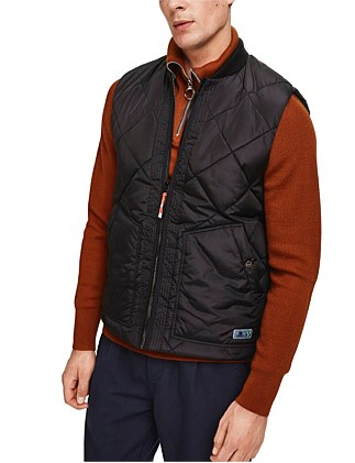 QUILTED BODYWARMER WITH BOMBER COLLAR