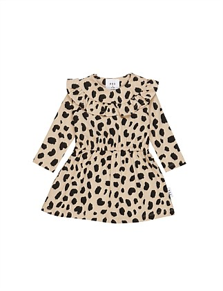 ANIMAL SPOT LONG SLEEVE DRESS (0-3M - 3Y)