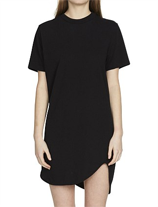 fitted crew mini short sleeve dress