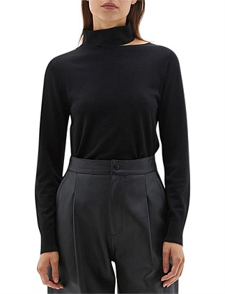 Wool Jersey Cut Out Funnel Neck